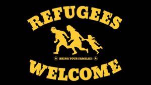 Suche nach EhrenamtlichenRefugees welcome Logo schwarzer Hintergrund gelbe Schrift